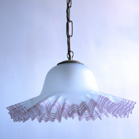 Frosted white glass pendant with pink frill
