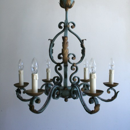 greened wrought iron chandelier