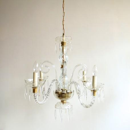 pair of crystal swan neck chandeliers