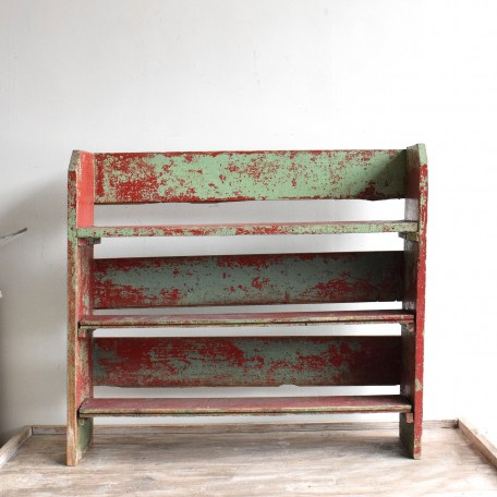 distressed wooden shelves