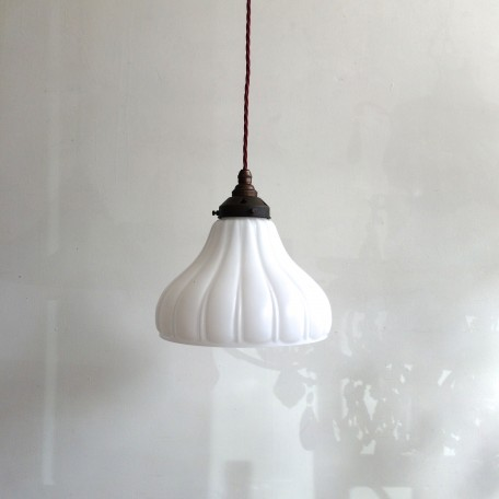 white glass flared shade