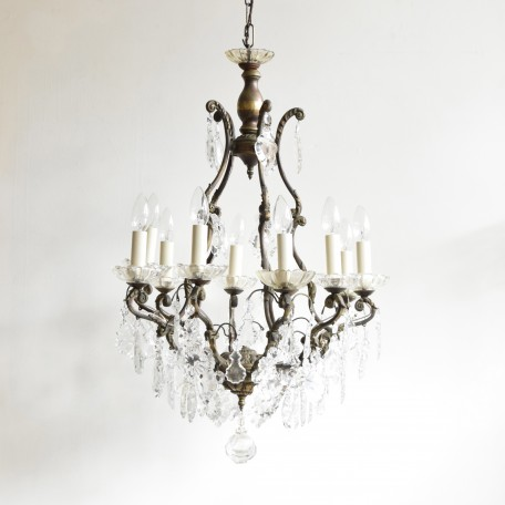 Large Birdcage Chandelier dressed in a mix of flat glass leaf drops. Made from scrolled ornate brass which has been partially polished. Early 1900s Italy.