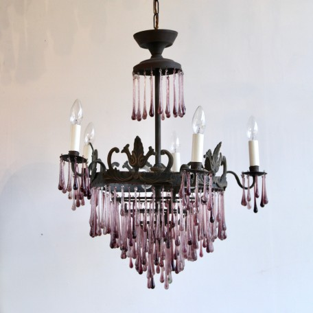 Amethyst Waterfall Chandelier dressed in contemporary purple glass teardrops. 1920s brass chandelier frame. Fully rewired and restored.