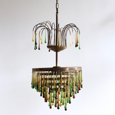 Autumnal Waterfall Chandelier dressed in contemporary rich brown, golden yellow and green glass teardrops. 1920s brass chandelier frame. Fully rewired.