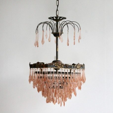 Peach Glass Waterfall Chandelier antique peach flat leaf drops. Octagonal brass frame with upper walking sticks. Originates from early 1900s France.