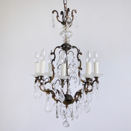 Delicate Birdcage Chandelier dressed in a mix of hand cut crystal and glass flat leaf drops. Originates from early 1900s Italy. Fully restored and rewired.