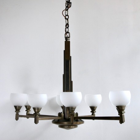 Art Deco Eiffel Tower Style Chandelier from 1930s France. Bronze chandelier frame with frosted glass shades. Fully rewired and restored.