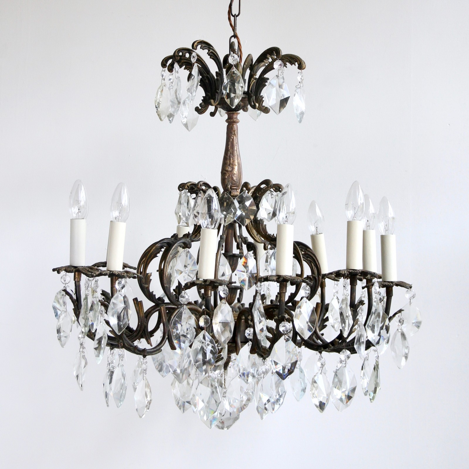 Ornate chandelier with twelve arms and cut crystal drops aloadofball Image collections
