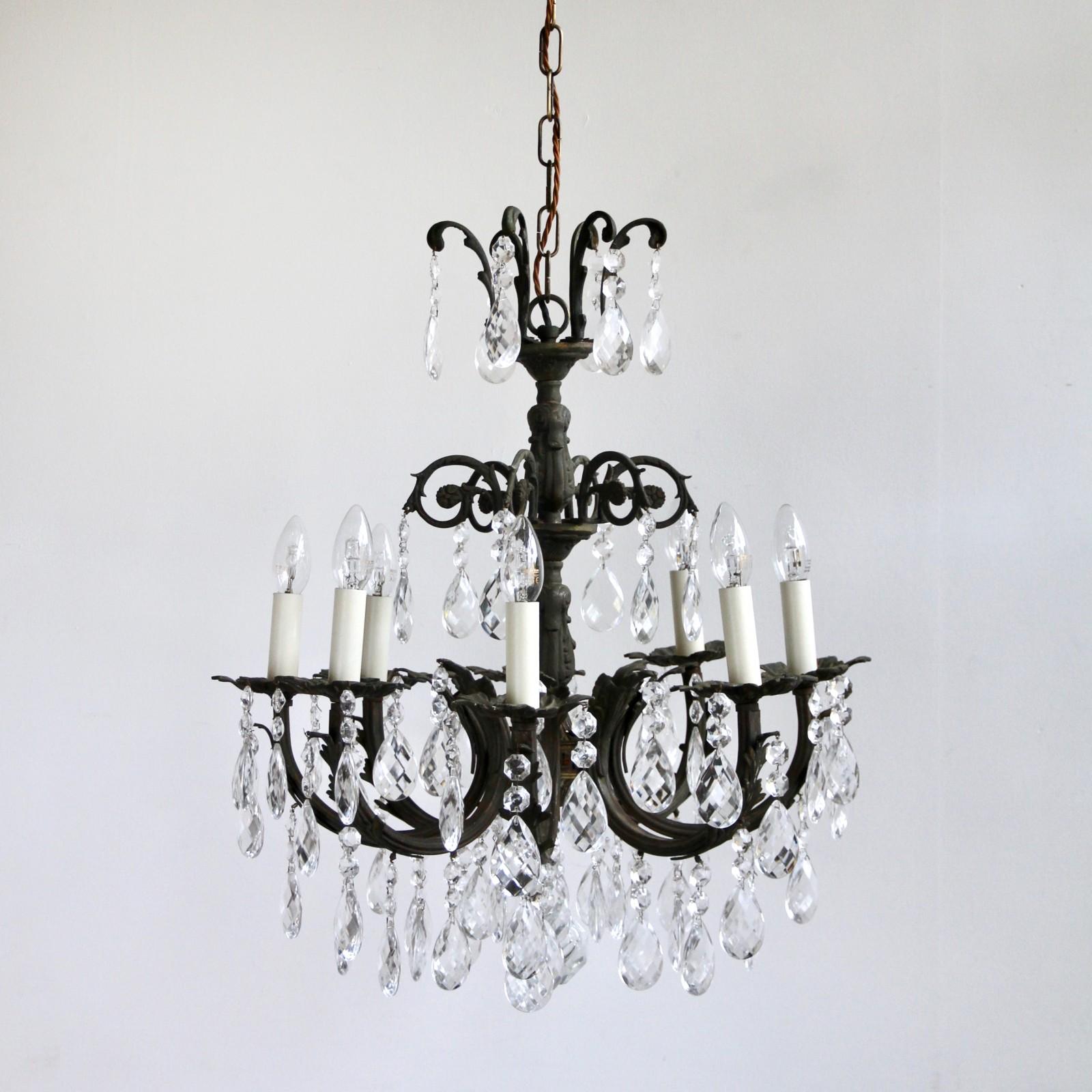 Dark oxidised ornate chandelier dressed in harlequin pears aloadofball Gallery