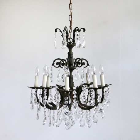 Dark Oxidised Ornate Chandelier dressed in glass harlequin pears with multiple glass buttons. Originating from early 1900s France. Naturally oxidised brass.