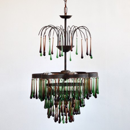 Autumnal Petal Waterfall Chandelier dressed in contemporary and vintage coloured glass teardrops. Unique statement centrepiece, fully rewired and restored.