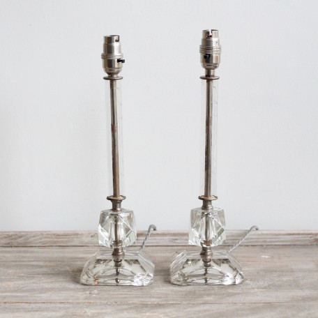 Crystal Lamps with nickel plated brass parts, chunky crystal and hand etched floral glass stems. French 1930s.
