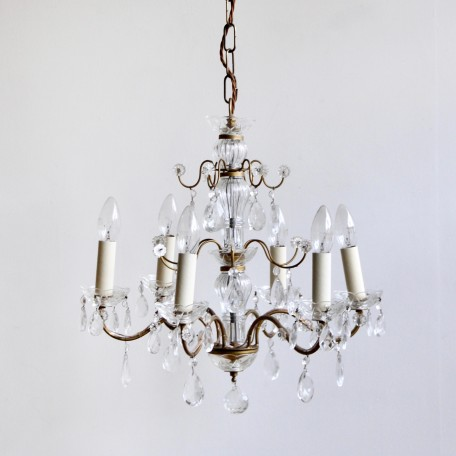 French Chandeliers dressed in glass pear drops and rosettes, 1930s