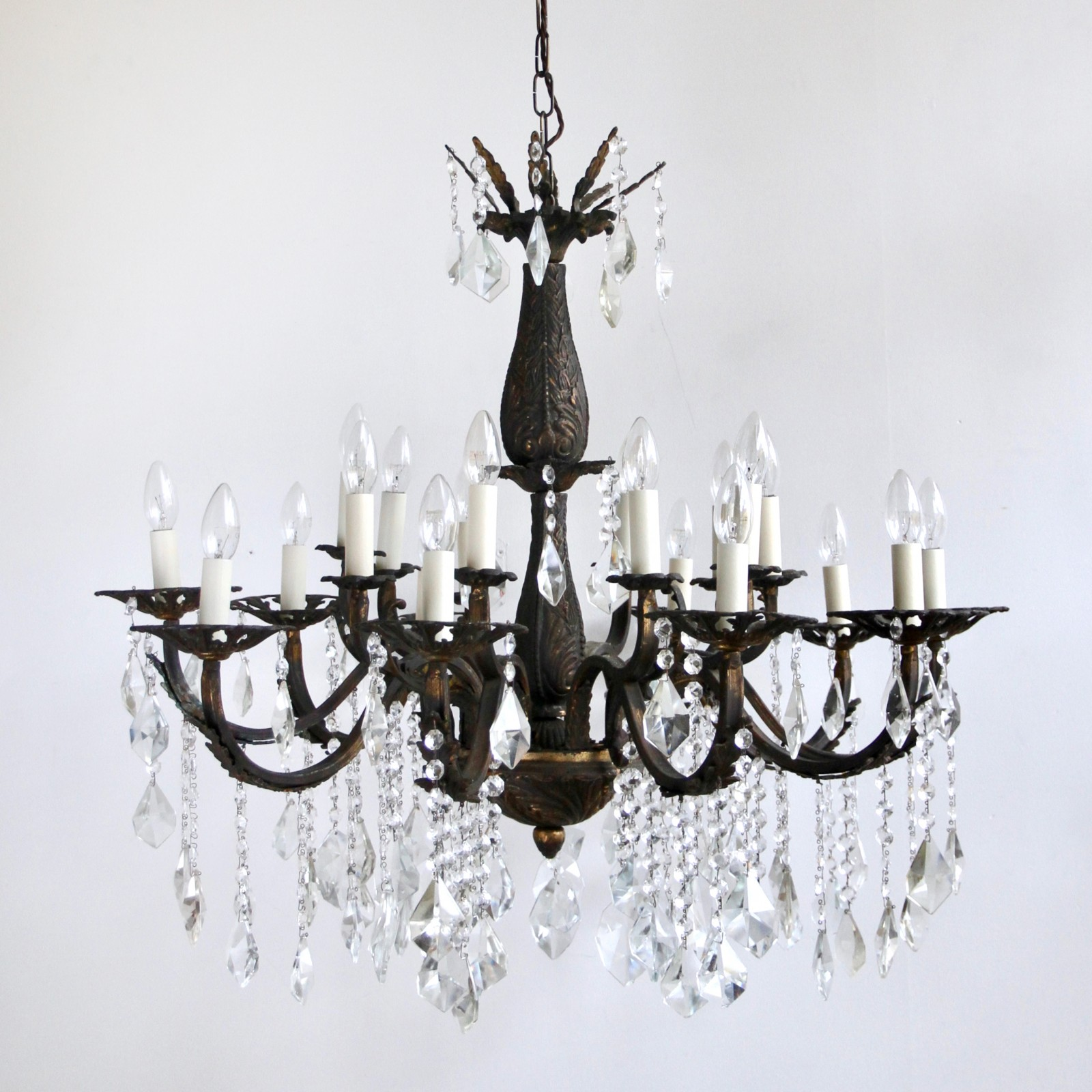 Ornate brass chandelier large heavy cast with crystal drops aloadofball Gallery