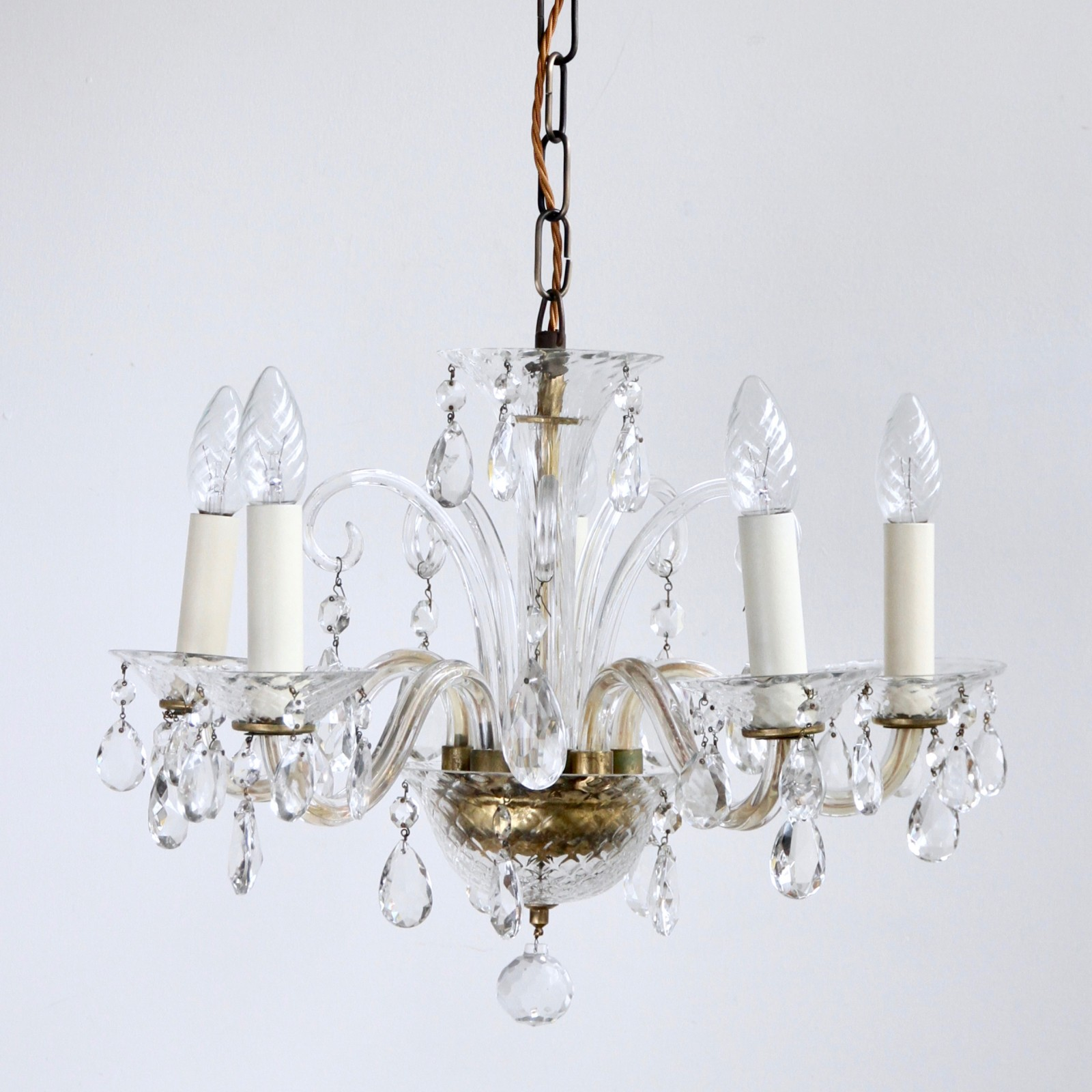 Murano glass chandelier dressed in crystal pear drops 1950s aloadofball Choice Image