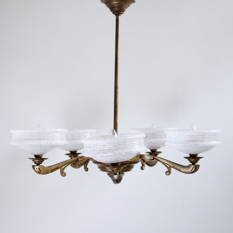 French Brass Uplighter with five pale pink tortoiseshell glass shades. 1930s French chandelier.