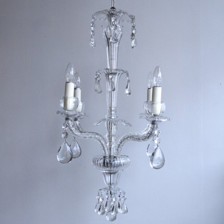 Crystal Chandelier originating from early 20th century France. Made from hand-moulded crystal it retains it's original drops. Fully rewired and restored.