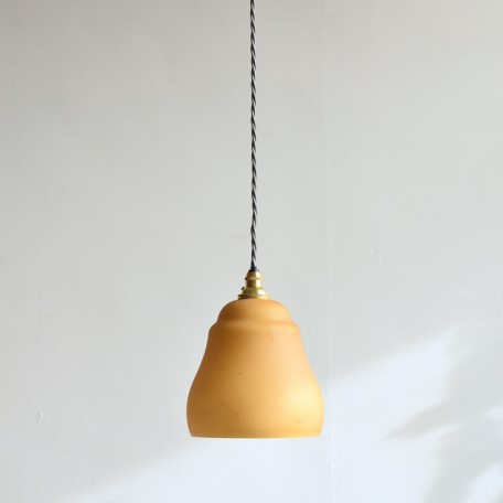 mustard bell-shaped glass shade