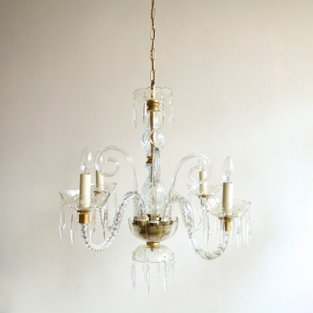 pair of crystal swan neck chandeliers