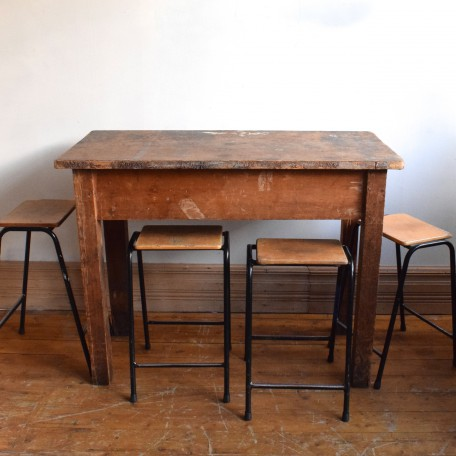 antique tall industrial wooden table