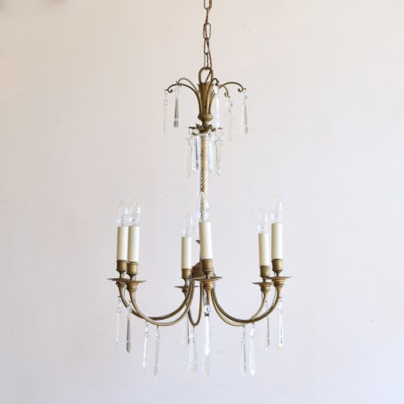 Swedish Chandelier with Waterford crystal drops, Early 1900s. Delicate glass central stem and tubular brass frame. Fully rewired and restored.