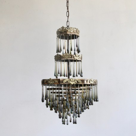 Smokey Waterfall Chandelier with dressed in contemporary smokey glass teardrops. 1920s brass chandelier frame. Fully rewired and restored.