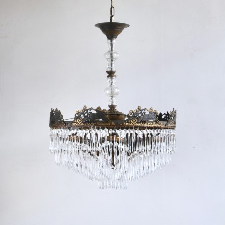 Large Continental Waterfall Chandeliers. Bespoke lighting order. Italian 20th century chandeliers restored and rewired. Dressed in glass icicles drops.