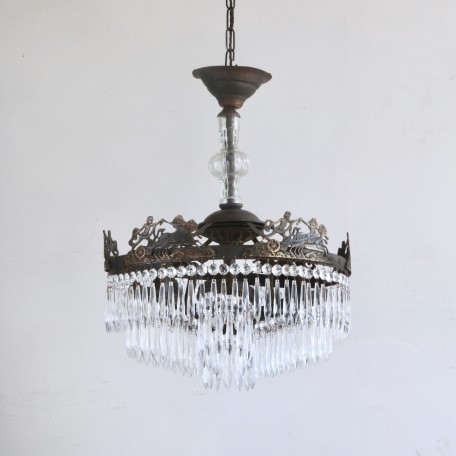 Continental Waterfall Chandelier dressed in glass icicle drops with lower petal tiers. Early 1900s Italian chandelier. Fully restored and rewired.