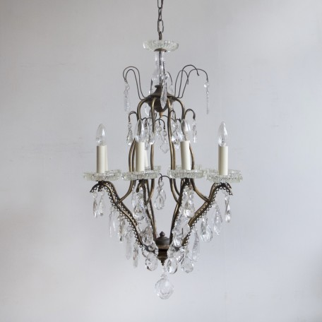 Large Birdcage Chandelier with crystal bobèche pans. Early 1900s Italy. Dressed in large glass flat leaf and pear drops. Fully rewired and restored.