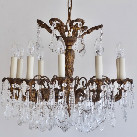 Gilt Chandelier with glass flat leaf drops and faceted icicles. 1900s French heavy cast bronze chandelier. Fully rewired and restored.