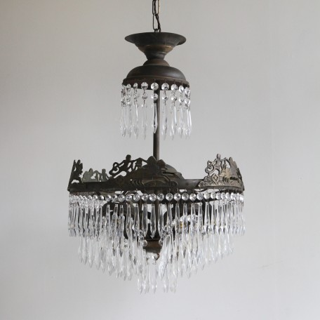 Continental Waterfall Chandelier dressed in glass icicles with lower petal tiers. Early 1900s Italian chandelier. Fully restored and rewired.