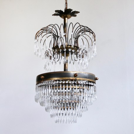Brass Waterfall Chandelier with faceted icicle drops and weeping willow-like brass branches. Originates from early 1900s France. Fully restored and rewired.