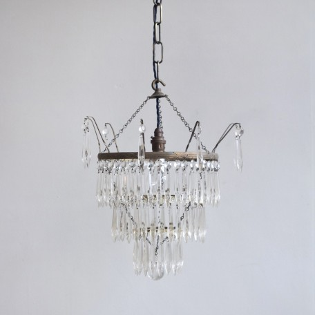 Elegant Waterfall Chandelier with glass icicle drops. Icicles hang from pale yellow glass flowers and crystal buttons. Originates from early 1900s France.