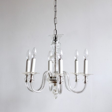 Bohemian Crystal Chandelier with acid etched floral motif in the bobèche pans. Originating from 1930s France. Fully rewired and restored.