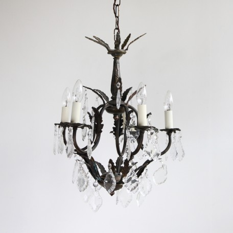 Small Birdcage Chandelier dressed in a mix glass flat leaf drops with glass buttons. Originates from early 1900s Italy. Heavily oxidised brass frame.
