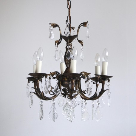 Small Brass Chandelier dressed in a mix glass flat leaf drops with glass buttons. Chandelier originates from early 1900s France. Fully rewired and restored.