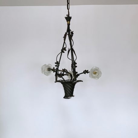 Floral Basket Chandelier with Frosted Shades