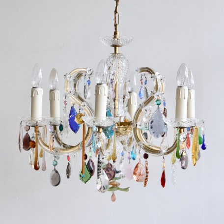 A six arm glass Marie Thérèse Chandelier with Multi-Coloured drops