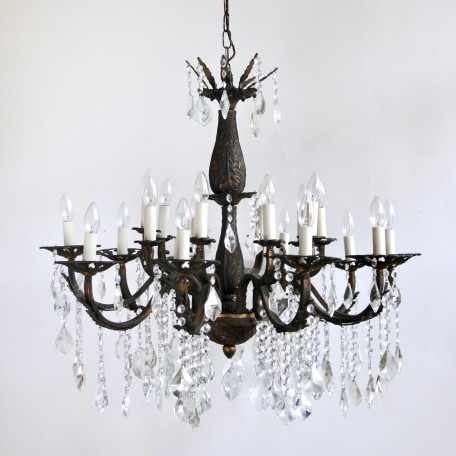Large Ornate Brass Chandelier dressed in strings of glass buttons which are finished with chunky cut crystal drops, 20 lamps. From early 1900s France.