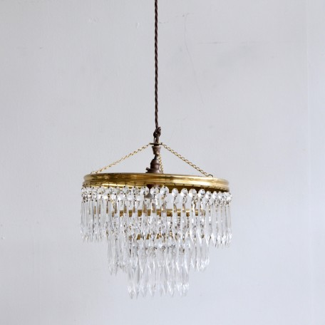 English Waterfall glass and brass chandelier