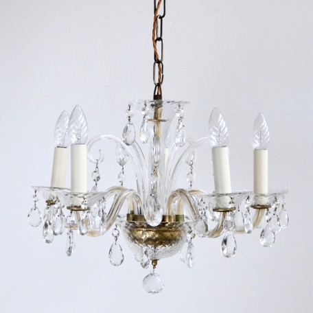 1950s Murano Glass Chandelier dressed in crystal pear drops. Uses six SES lamps. Supplied with chain and ceiling rose.