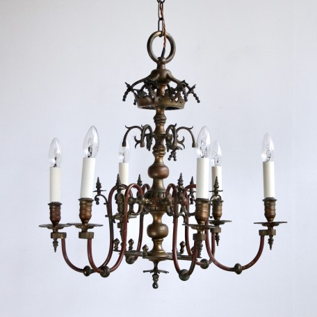 Electrified Gasolier Chandelier, 1840s copper and bronze chandelier with original burgundy paint. Fully rewired and restored.