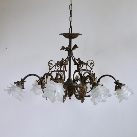 Decorative Brass Downlighter Chandelier with six floral frosted shades. 1920s Ornate Brass French Chandelier. Uses six B22 fittings.