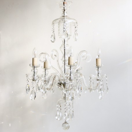Large Bohemian Crystal Chandelier with hand cut crystal drops and elegant crystal swan neck arms that hold five lamps. Dating from 1930s France.