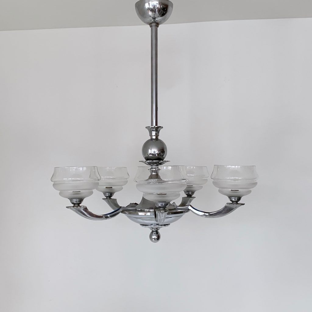 Art Deco Chromed Chandelier with Textured Glass Shades ...