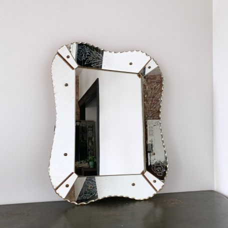 1930s Art Deco Bevelled Edge Mirror with Etched Pattern