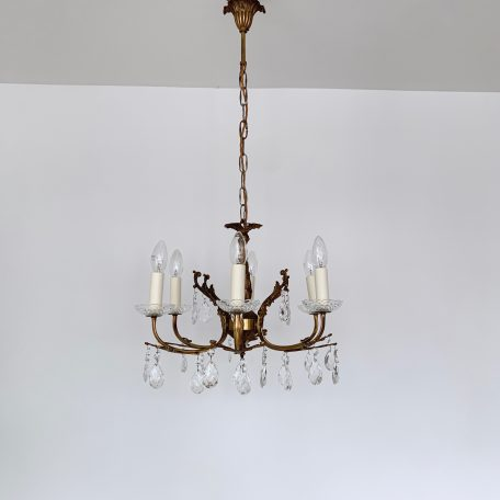20th Century French Six Arm Delicate Brass Chandelier