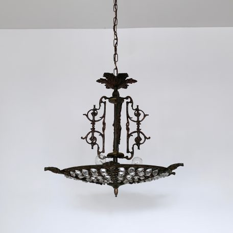 Early 1900s French cast brass uplighter with decorative floral features and glass button decorated lower shade