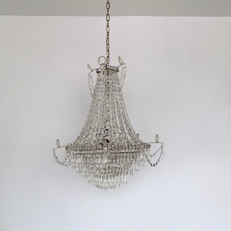Electrified Italian 1930s Crystal Ghost Tent and Waterfall Chandelier