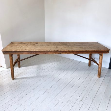 Vintage English Large Rustic Pine Peg Trestle Dining Table